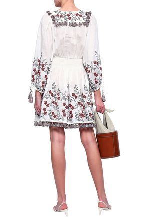 ZIMMERMANN Tasseled embroidered linen dress