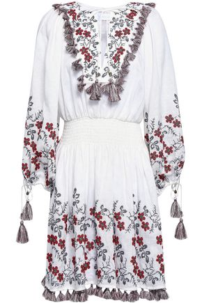 ZIMMERMANN Tasseled embroidered linen dress