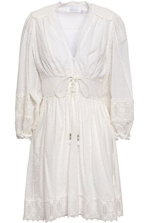 ZIMMERMANN Lace-trimmed broderie anglaise and fil coupé cotton mini dress
