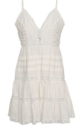 ZIMMERMANN Pleated lace-trimmed Swiss-dot cotton mini dress