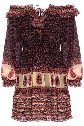 ZIMMERMANN Off-the-shoulder ruffled printed silk-georgette mini dress