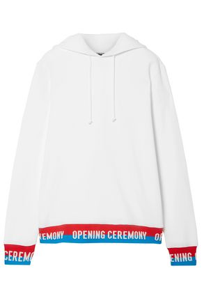 OPENING CEREMONY Ribbed knit-trimmed cotton-jersey hooded top