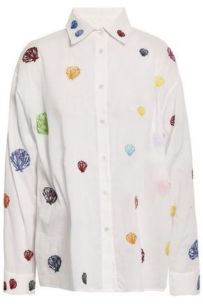 ROSIE ASSOULIN Embroidered cotton-gauze shirt