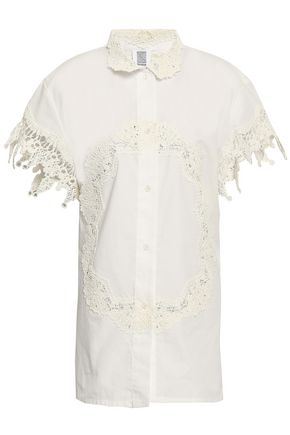 ROSIE ASSOULIN Lace-trimmed cotton-poplin shirt