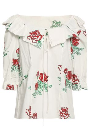 ROSIE ASSOULIN Printed flocked cotton-blend poplin blouse