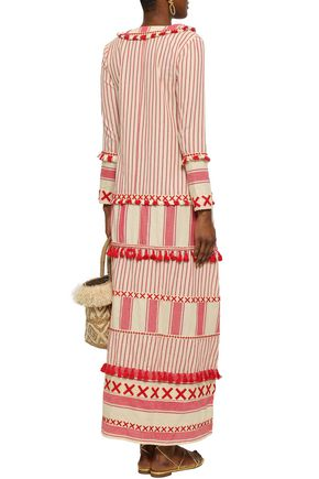 DODO BAR OR Samuelle embroidered striped cotton-gauze maxi dress