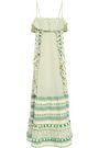 DODO BAR OR Peeri tasseled embroidered cotton-gauze dress