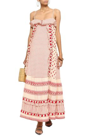 DODO BAR OR Peeri tasseled embroidered cotton-gauze dress
