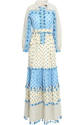 DODO BAR OR Jose embroidered striped  cotton-gauze maxi dress