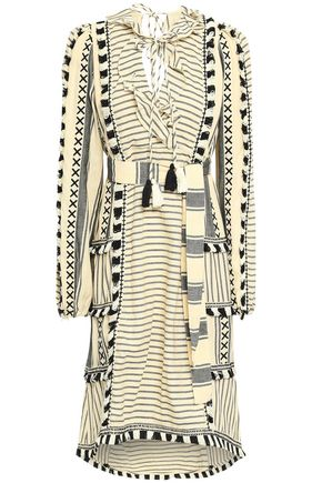 DODO BAR OR Fringe-trimmed embroidered striped cotton-gauze dress