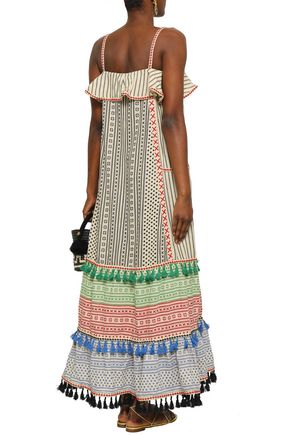 DODO BAR OR Tasseled embroidered cotton-jacquard maxi dress
