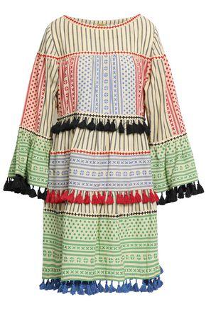 DODO BAR OR Tasseled embroidered cotton-jacquard mini dress