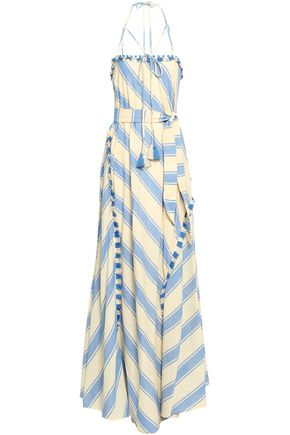 DODO BAR OR Belted fringed striped cotton-gauze maxi dress