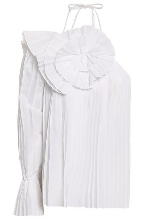 ROSIE ASSOULIN One-shoulder pleated woven top