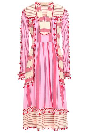 DODO BAR OR Stephanie embroidered striped cotton-gauze midi dress