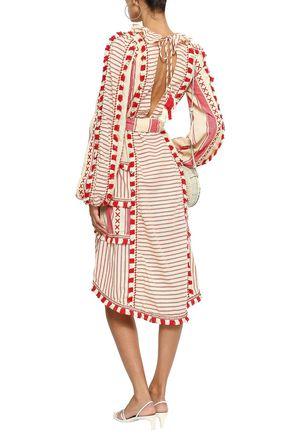 DODO BAR OR Fringe-trimmed embroidered striped cotton-gauze dress