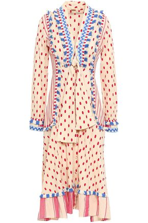 DODO BAR OR Padma knotted embroidered cotton-gauze midi dress
