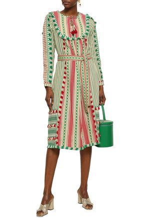 DODO BAR OR Tasseled embroidered cotton-jacquard midi dress