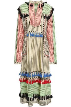 DODO BAR OR Tassel-trimmed embroidered cotton-gauze midi dress