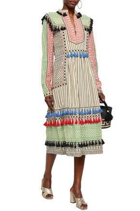 DODO BAR OR Tassel-trimmed embroidered cotton-gauze midi dress