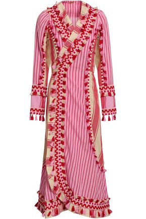DODO BAR OR Miranda embroidered striped cotton-gauze midi wrap dress