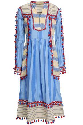 DODO BAR OR Stephanie embroidered striped cotton-gauze midi dress