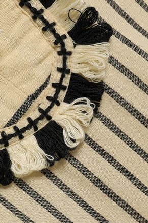 DODO BAR OR Tasseled striped cotton-gauze maxi dress