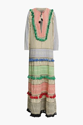 DODO BAR OR Tassel-trimmed embroidered striped cotton-gauze maxi dress