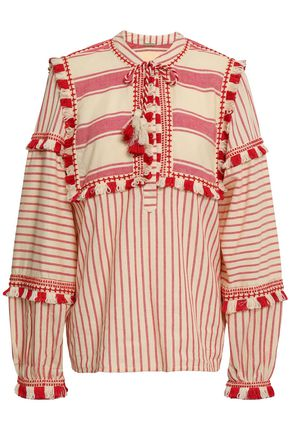 DODO BAR OR Emanuelle embroidered striped cotton-gauze top