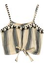 DODO BAR OR Cropped fringed striped cotton-gauze top