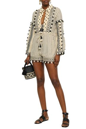 DODO BAR OR Vala embroidered striped cotton-gauze playsuit