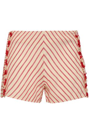 DODO BAR OR Fringe-trimmed striped cotton-gauze shorts