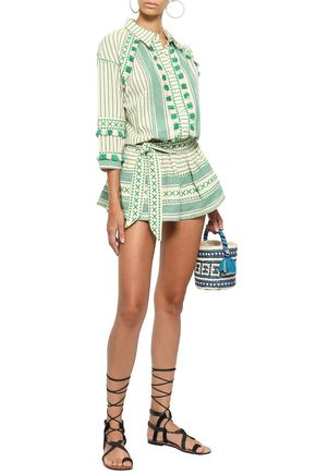 DODO BAR OR Fringe-trimmed embroidered striped cotton-gauze playsuit