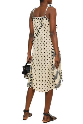 DODO BAR OR Bow-detailed embroidered cotton-gauze dress