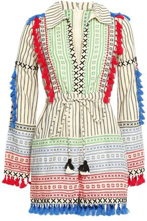 DODO BAR OR Rodrigo embroidered striped cotton-gauze playsuit