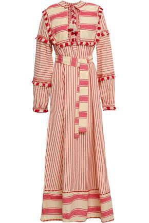 DODO BAR OR Embroidered striped cotton-gauze maxi dress