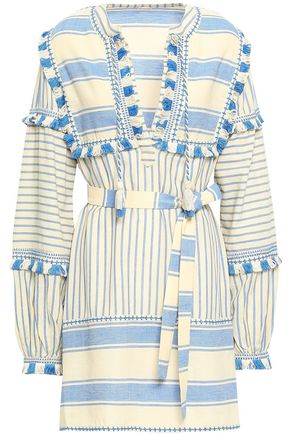 DODO BAR OR Tasseled striped cotton-gauze mini dress