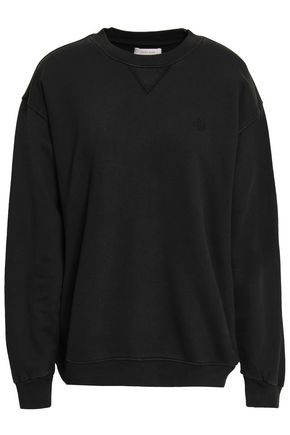 ANINE BING Embroidered French cotton-terry sweatshirt