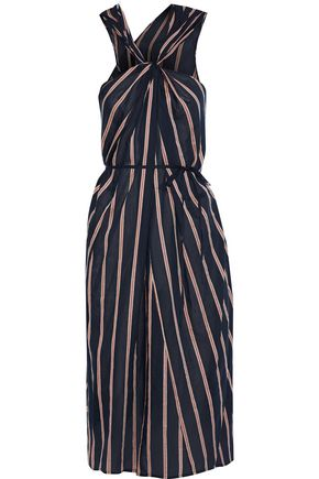 VINCE. Twist-front striped voile midi dress