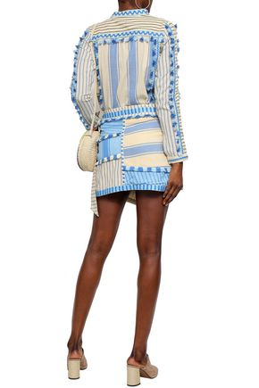 DODO BAR OR Rika embroidered striped cotton-gauze top