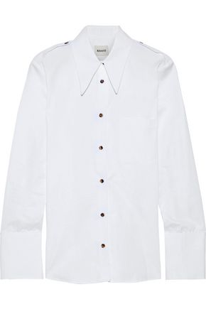 KHAITE Striped cotton-poplin shirt