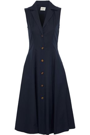 KHAITE Marilyn button-detailed cotton-twill midi dress