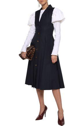 KHAITE Marilyn button-detailed cotton-twill midi dress