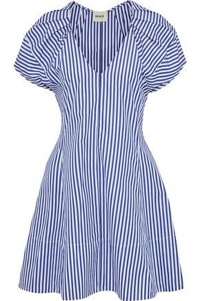 KHAITE Briana pleated striped cotton-poplin mini dress