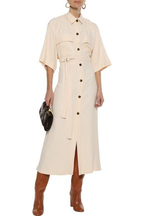 KHAITE Leilani cape-effect crepe midi shirt dress