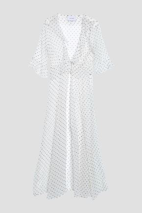WE ARE LEONE Ruffle-trimmed printed georgette coverup