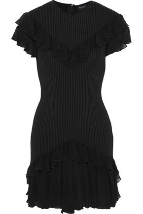 GIAMBATTISTA VALLI Ruffled chiffon-trimmed ribbed stretch-wool mini dress