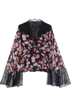 GIAMBATTISTA VALLI Lace-paneled floral-print silk-georgette blouse