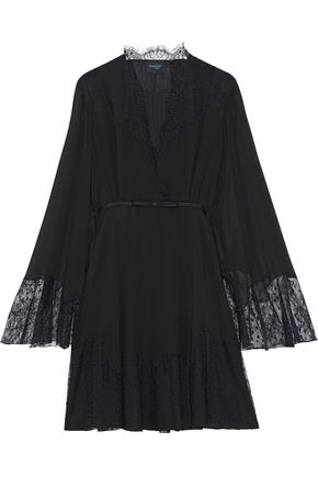 GIAMBATTISTA VALLI Lace-paneled silk-georgette mini dress