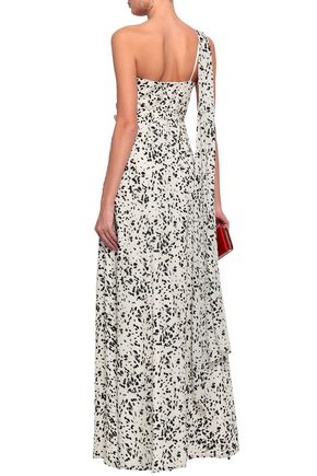MIKAEL AGHAL One-shoulder belted printed silk maxi dress